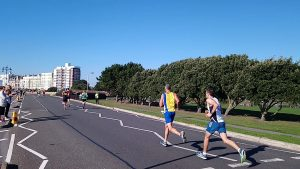 Rich Brawn going up the road in the Great South Run