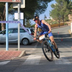 Ross Smith on bike leg of European Cross Duathlon Championships