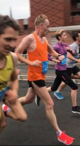 Roy Long heading for line in the Leeds Abbey Dash 10k