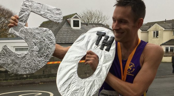 Stu Nicholas celebrates his 50 marathon achievement