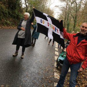 Stu Nicholas' parents supporting him in Cornish Marathon