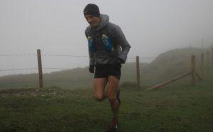 Jacek Cieluszecki going through the fog in the CTS Dorset Ultra