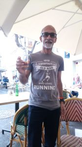 Sanjai Sharma enjoying a beer after the Valencia Marathon