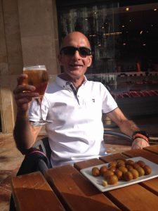 Sanjai Sharma toasting a great Valencia Marathon