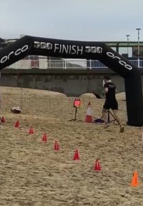 Trev Elkins finishing the Bournemouth Beach Race Winter Edition