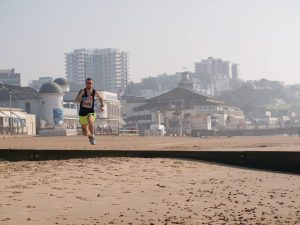 Trev Elkins jumps a groyne in the Bournemouth Beach Race back in April