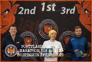 Ollie Stoen and Jacek Cieluszecki on the podium at the Portland Coastal Marathon