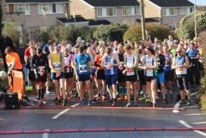 The start line for the Humdinger Half Marathon