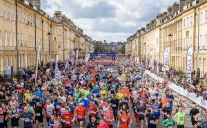 The masses at the start of the Bath Half Marathon