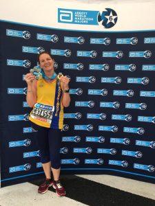 Caroline Rowley with her Six Star Major Marathon Medal