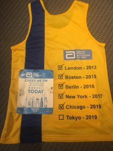 The back of Caroline Rowley'd Bournemouth AC top from the Tokyo Marathon