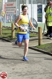 Louise Price in full flow in the Fleet Half Marathon