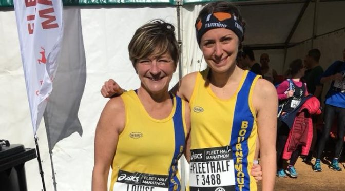 Louise Price and Tamzin Petersen at the Fleet Half Marathon