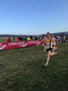 Stu Glenister racing hard in the National Cross Country Championships