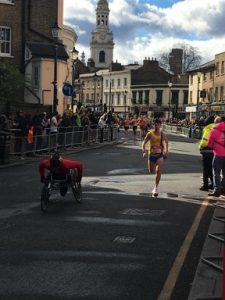 Tag races toward the finish of the Vitality Big Half
