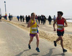 Gemma Bragg on the promenade in the Bournemouth Bay Run Half Marathon