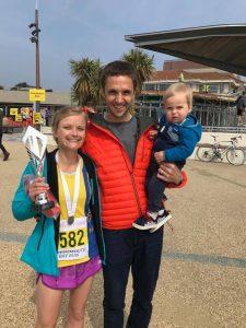 Gemma Bragg with Jez and Milo at the Bournemouth Bay Run Half Marathon