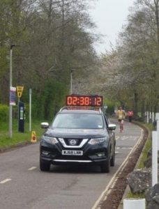 Toby Chapman behind the lead car in the Taunton Marathon
