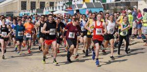 The Rotary East Cliff Easter Quarter Marathon race begins