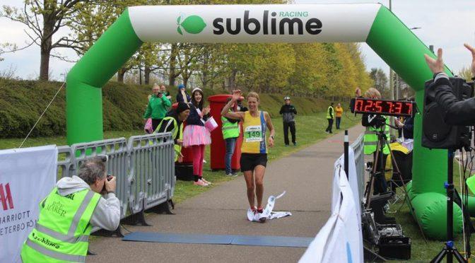 Emma Caplan finishes the Peterborough Marathon
