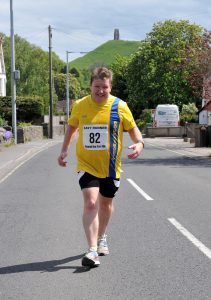 Julian Oxborough comes up Heartbreak Hill in the Glastonbury Round the Tor 10k