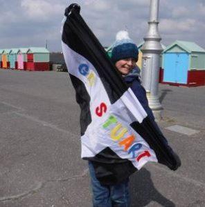 The classic 'Go Stuart' flag was out at the Brighton Marathon