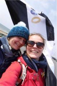Helen and Anna supporting Stu at Brighton Marathon