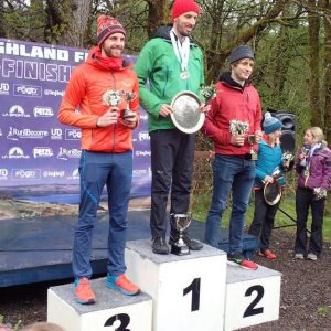 Toby Chapman takes his place on the podium at the Highland Fling