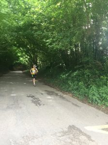 Josh Cole powers down the road in the Puddeltown Plod