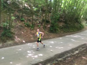 Josh Cole goes past in the Puddeltown Plod Half Marathon