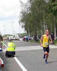 Simon Hearn finishing the Royal Berkshire 10k