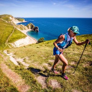 Linn heads past Durdle Door in the Jurassic Coast 100 Mile Ultra