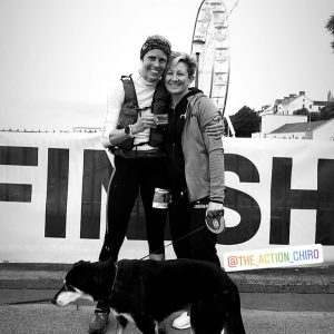 Linn, Shelley and Sir Tabor after the Jurassic Coast 100 Mile Ultra