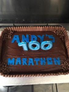 Andy Gillespie's 100 Marathon Club cake