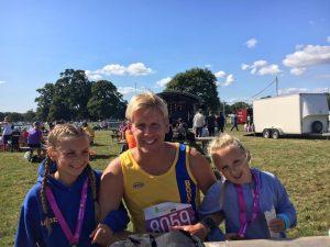 Isabel, Phil and Elliana Cherrett at the New Forest Marathon 5k