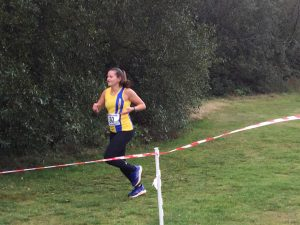 Raluca Basarman in action at the Wessex League Cross Country