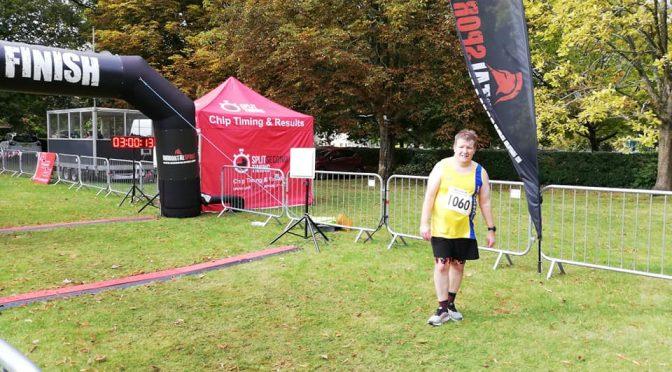 Julian Oxborough finishing the Salisbury Half Marathon