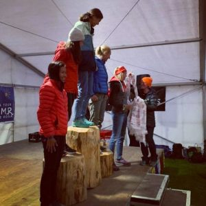 Linn Erixon Sahlström takes her place on the podium at the Ultra Tour Monte Rosa