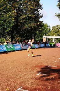 Rob McTaggart finishing the Cardiff Half Marathon