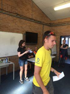 Stu Nicholas gets his prize at Littledown 5
