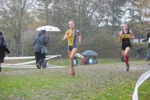 Martha Preece in action in the Hampshire League XC at Sparsholt College