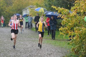 Oscar Ewan Matthews in action in the Hampshire League XC at Sparsholt College