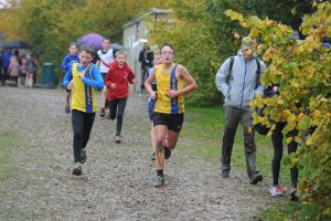 Sam Brewer and Nathan Mearns in the Hampshire League XC at Sparsholt College