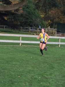 Raluca Basarman finishing the Wessex League XC at Lytchett School