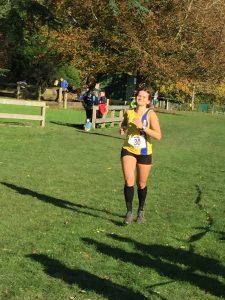 Raluca Basarman in action in the Wessex League XC at Lytchett School
