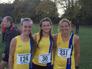 Holly, Raluca and Lisa in the Wessex League XC at Lytchett School