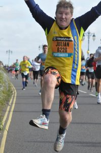 Julian Oxborough jumps for joy in the Great South Run