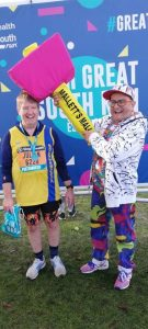 Julian Oxborough with Timmy Mallet at the Great South Run