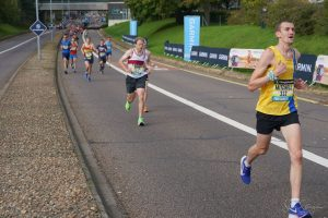 Mitch Griffiths powers along in the Great South Run