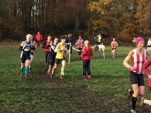 Nikki Sandell in action at the Hampshire League Cross Country in Aldershot